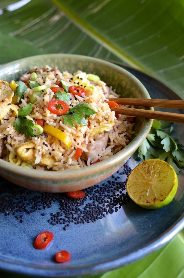 Fried rice with five-spice chicken, peppers and egg 'noodles' | Easy recipes