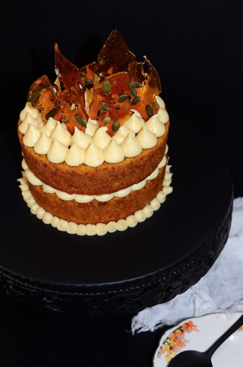 Spiced pumpkin cake with maple mascarpone buttercream frosting and seeded caramel shards | Dianne Bibby is a Johannesburg food stylist, recipe developer, and food blogger. | Hallo