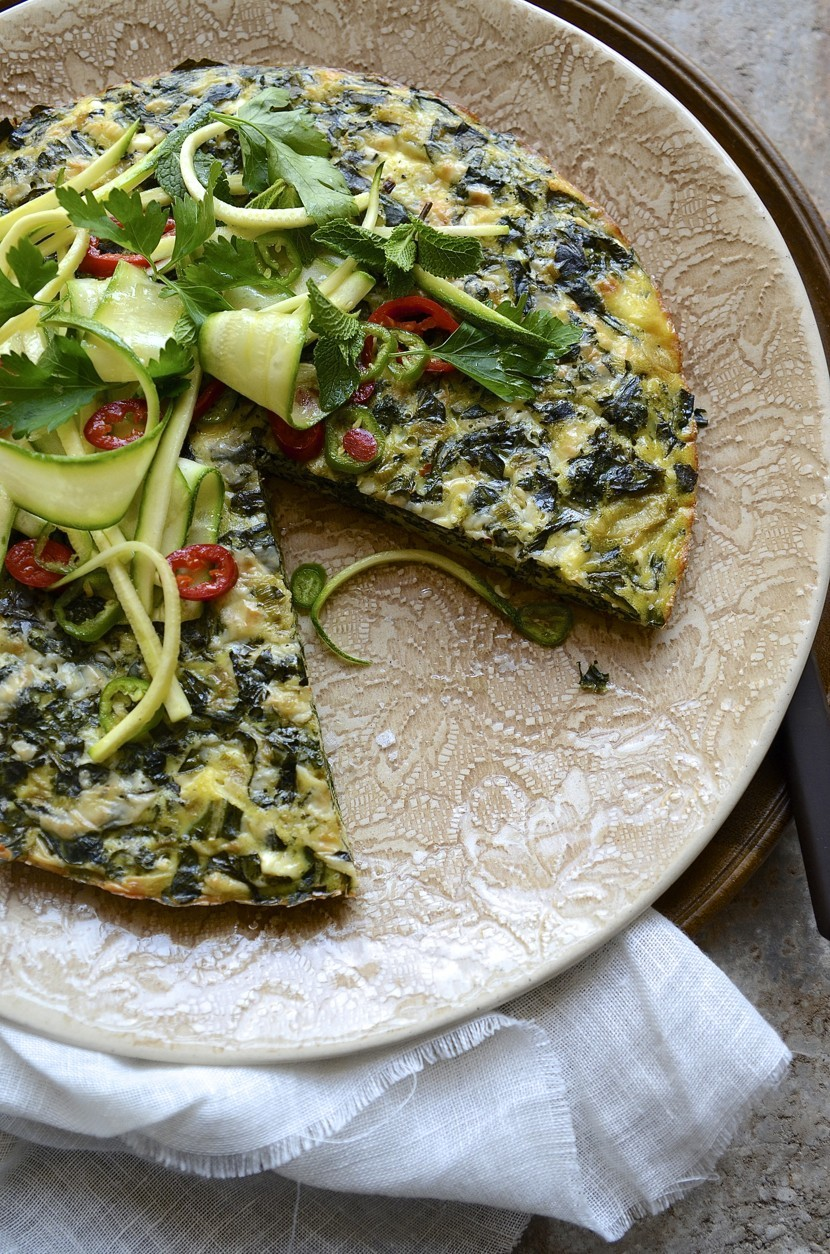 Kale and Rainbow coloured Swiss chard frittata | Healthy recipes