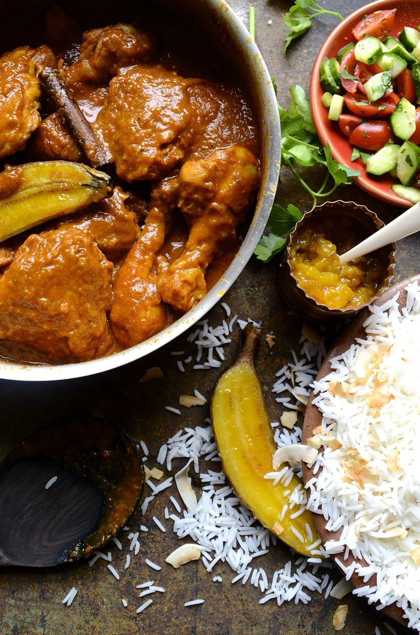 Cape Malay chicken curry|roasted bananas