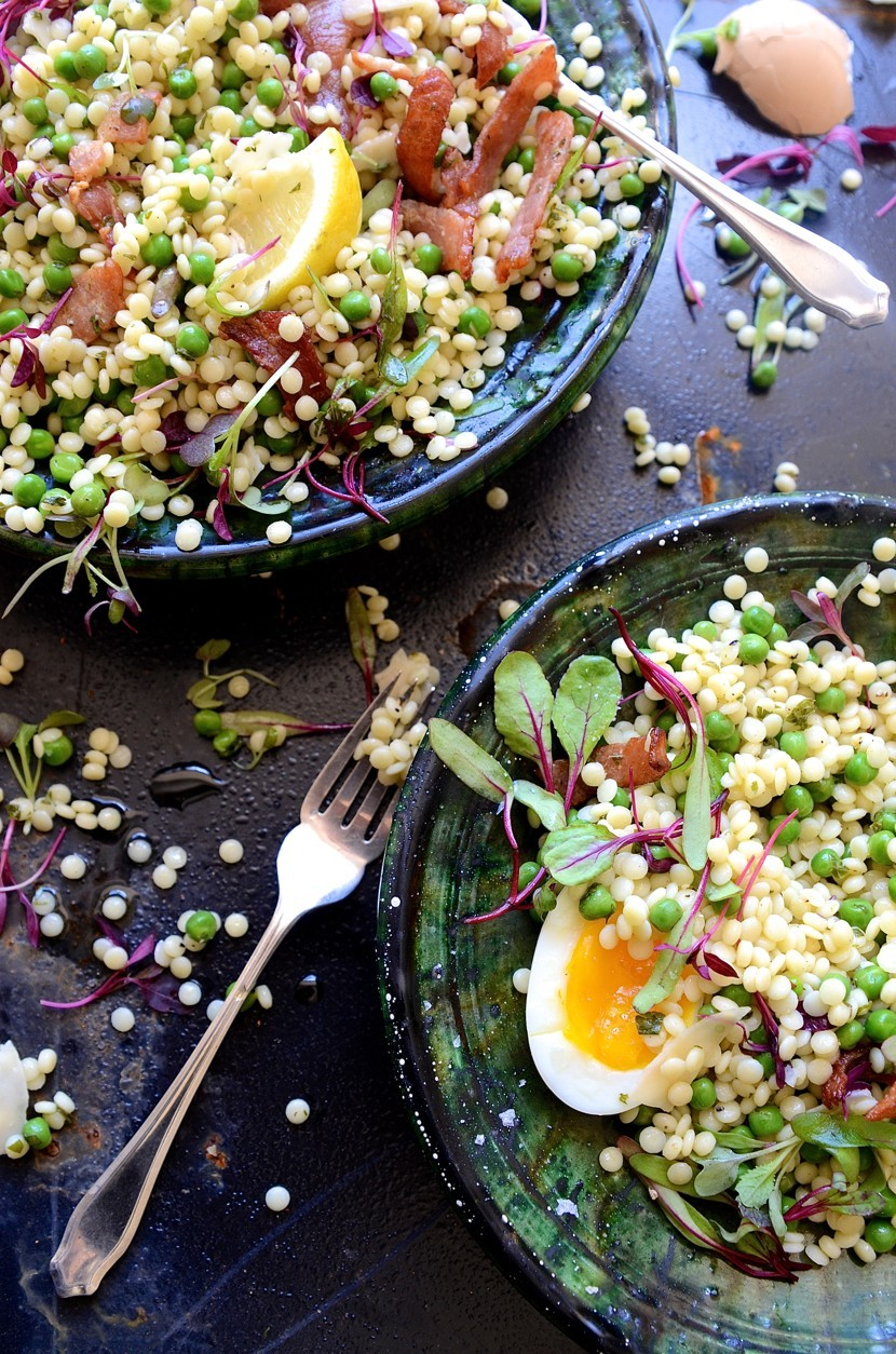 Giant Couscous Salad With Peas And Parmesan Bibbyskitchen Recipes