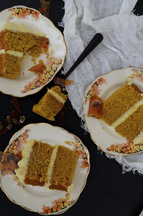 Spiced pumpkin cake with maple mascarpone buttercream frosting and seeded caramel shards | Dianne Bibby is a Johannesburg food stylist, recipe developer, and food blogger. | Pump
