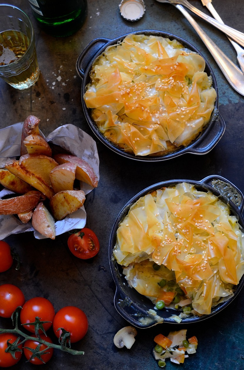 Chicken pot pies with scrunched phyllo pastry tops | Easy family favourites