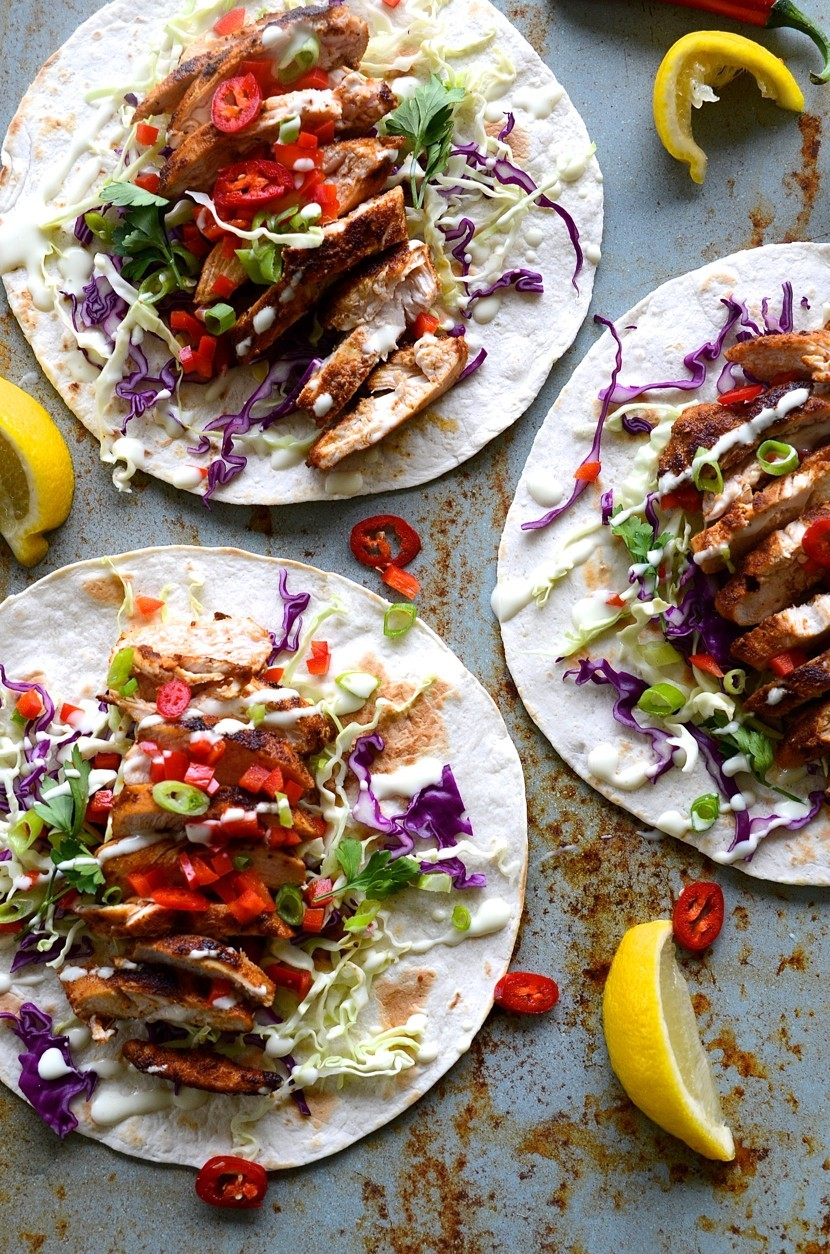 Healthy chicken tacos with slaw and buttermilk dressing | Bibbyskitchen recipes
