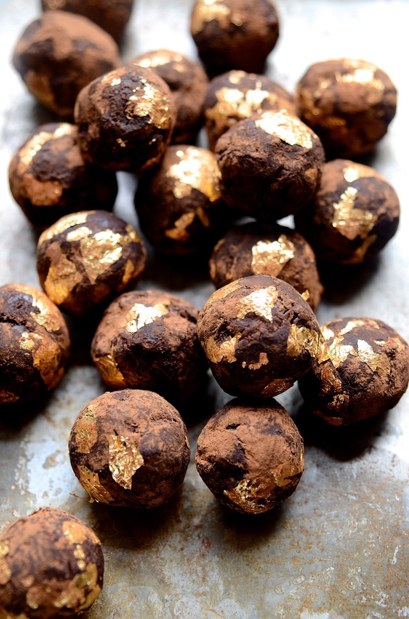African Amarula gilded dark chocolate truffles | Bibbyskitchen recipes