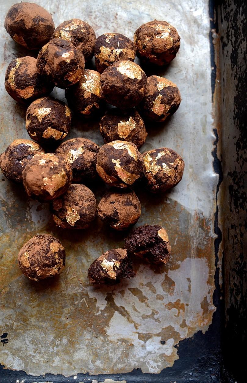 African Amarula gilded chocolate truffles