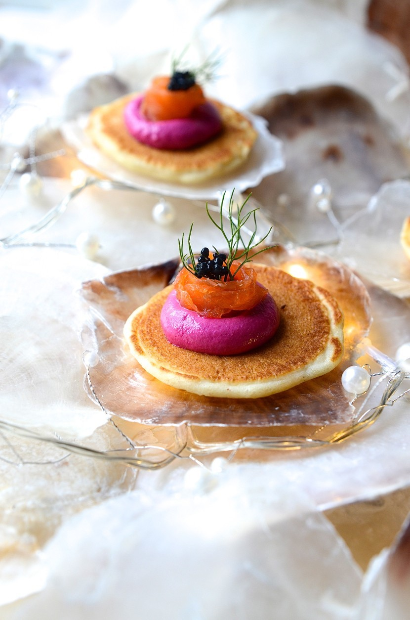 Buckwheat blinis with beetroot pâté and salmon ribbons | Bibby's Kitchen recipes