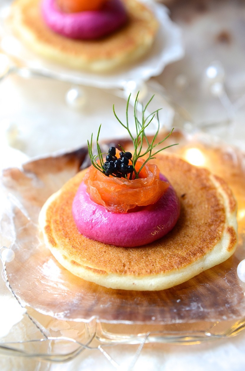Buckwheat blinis with beetroot p t and salmon ribbons for Smoked oyster canape