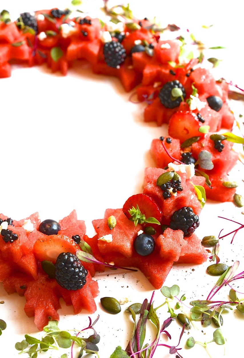 Watermelon wreathe with balsamic beads and feta