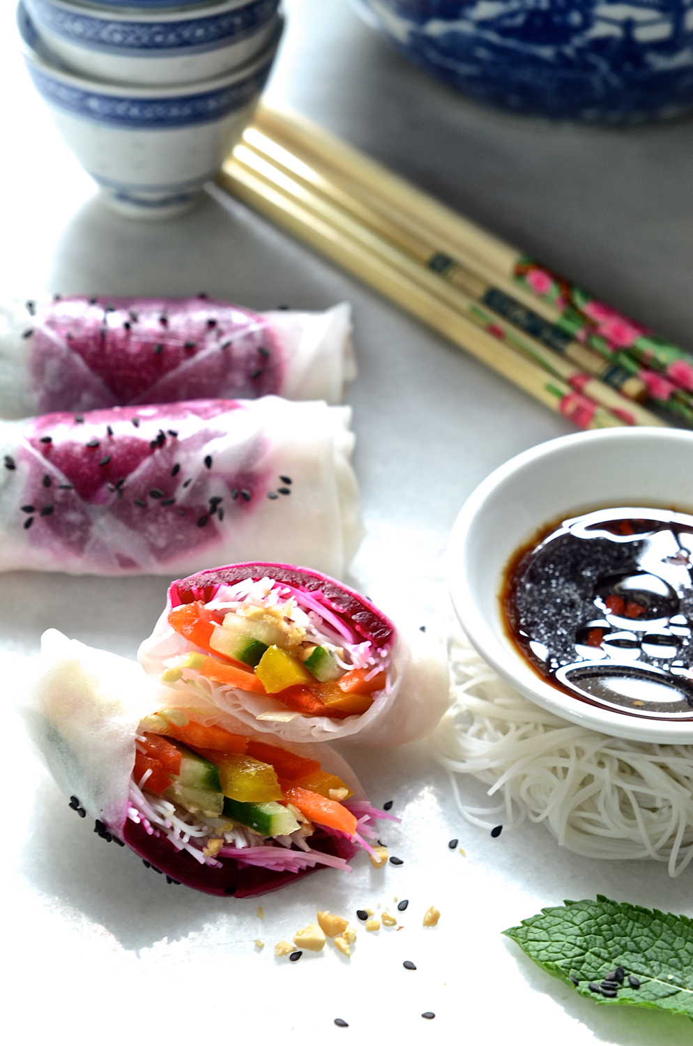 Beetroot rice paper rolls