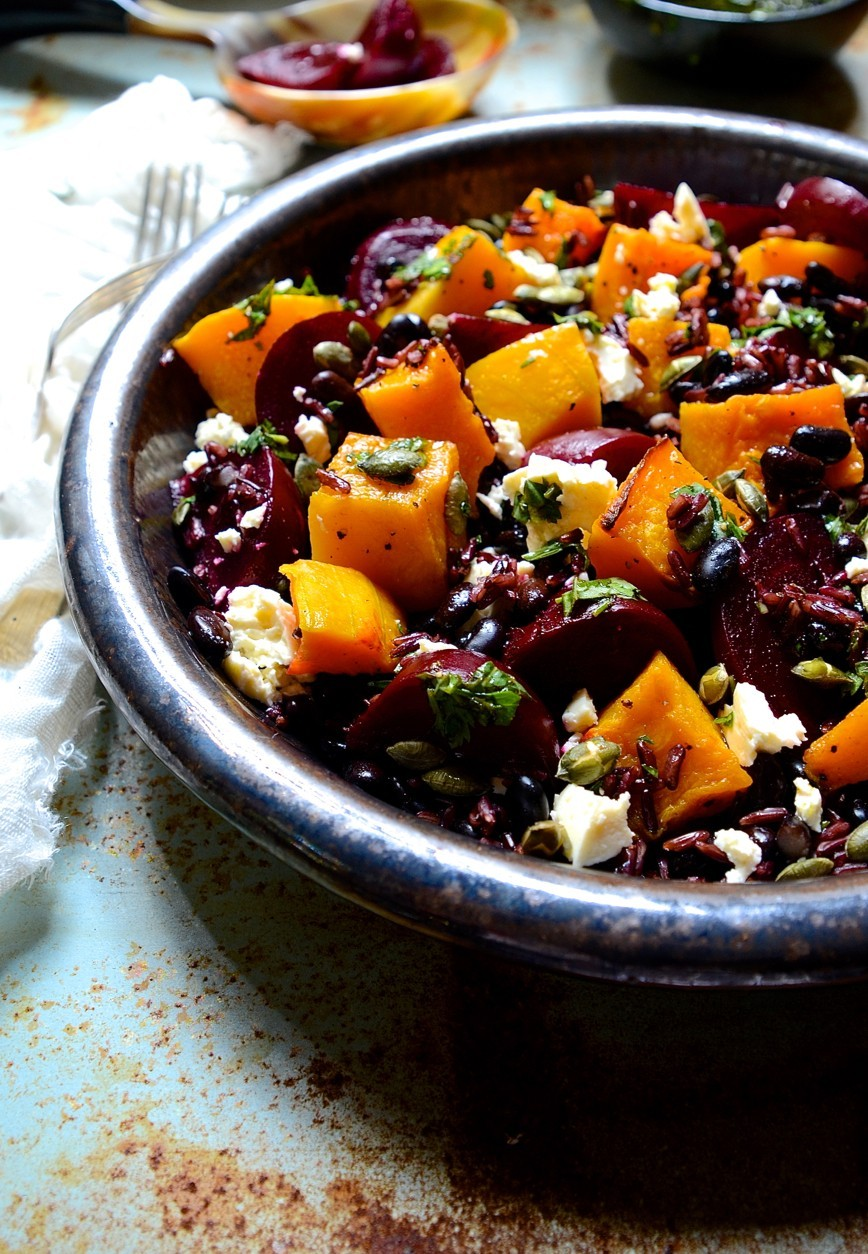 Black Rice Salad with Beets, Butternut & Pumpkin Seeds | Salad recipes