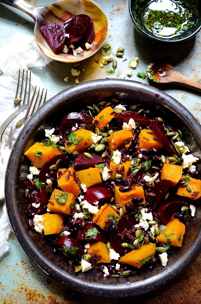 Black rice salad with balsamic beets and butternut