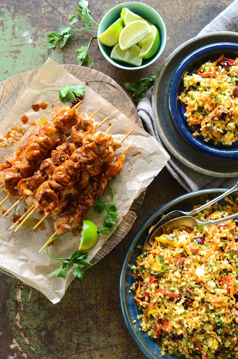 Paprika and coriander spiced chicken kebabs with carrot, nut and cranberry bulgur wheat salad | Dianne Bibby is a Johannesburg food stylist, recipe developer, and food blogger. | Chcik