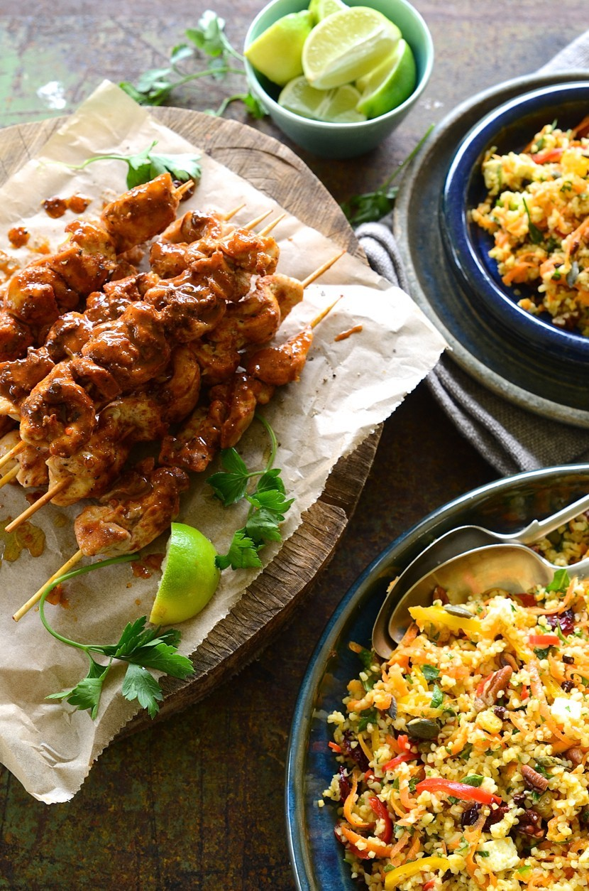 Paprika and coriander spiced chicken kebabs with carrot, nut and cranberry bulgur wheat salad | Dianne Bibby is a Johannesburg food stylist, recipe developer, and food blogger. | Chick
