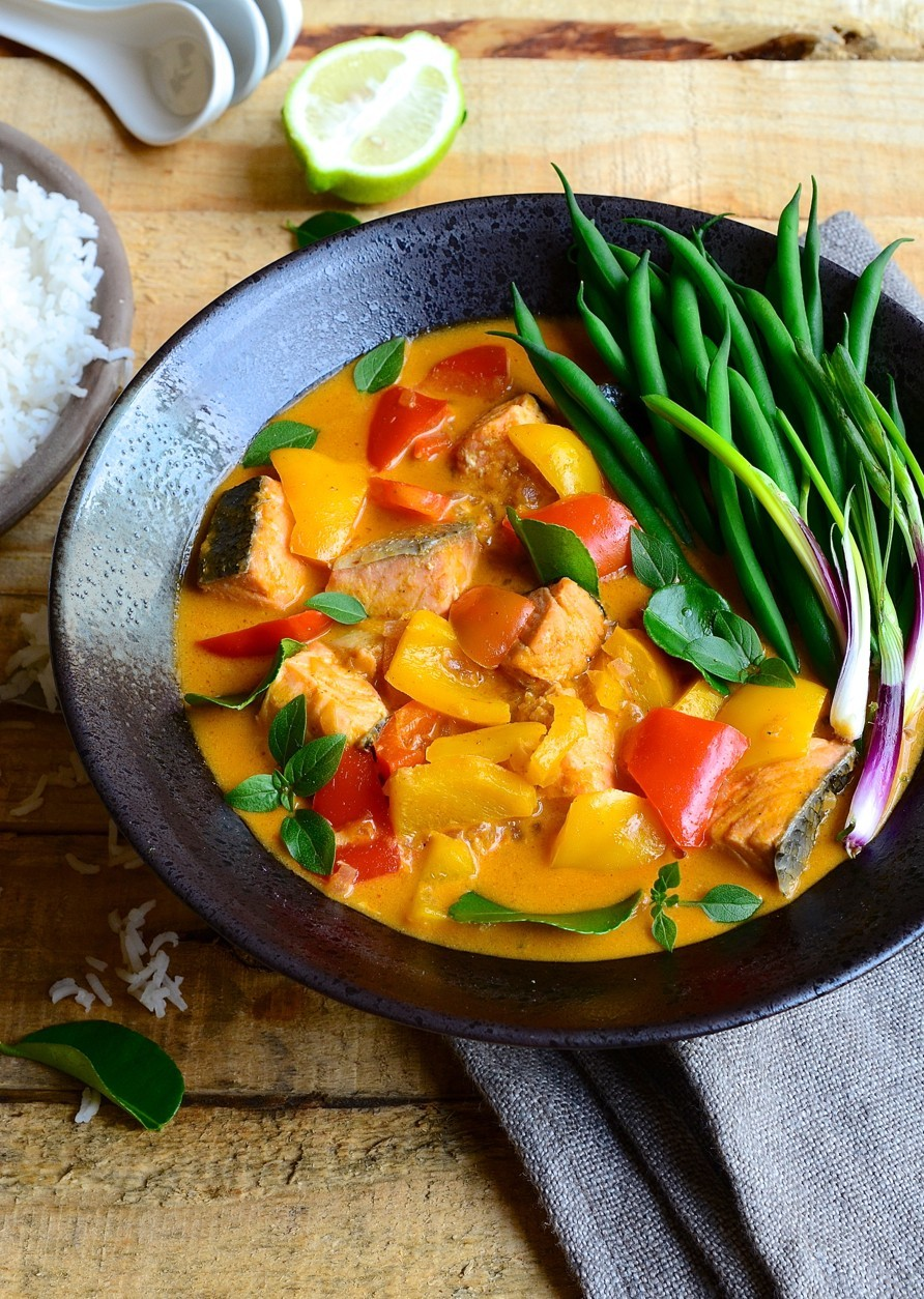 Red Thai salmon curry with coconut cream
