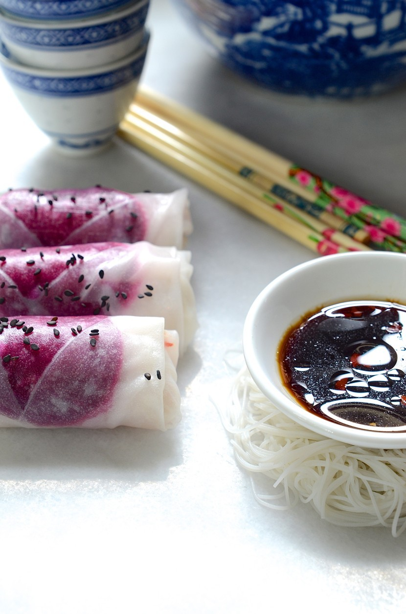 Beetroot rice paper rolls with sesame dipping sauce   Dianne Bibby is a Johannesburg food stylist, recipe developer, and food blogger.   Rice