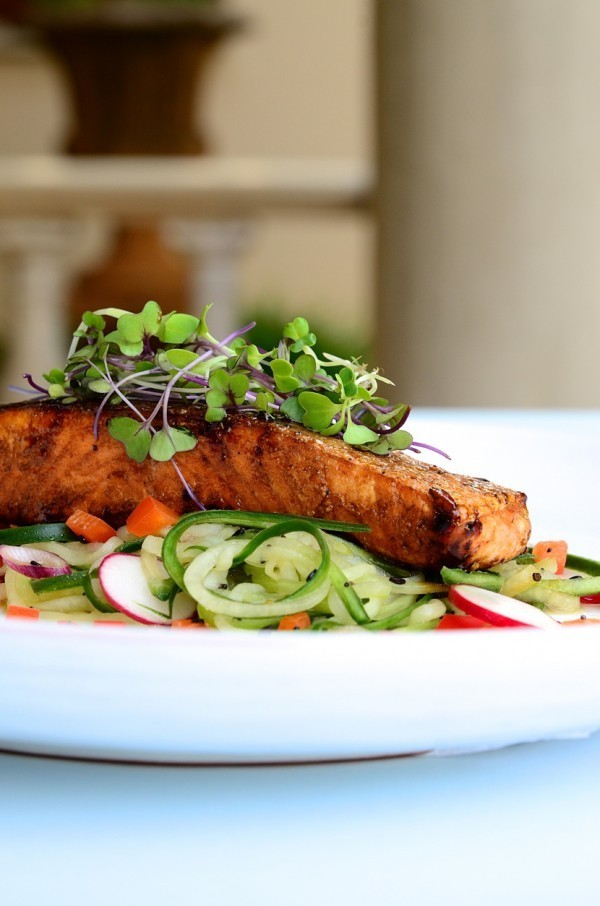 Honey and soy glazed salmon with cucumber spaghetti | Heart healthy recipes