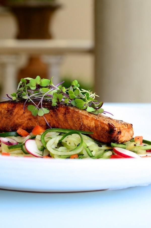 Honey and soy glazed salmon with cucumber spaghetti   Heart healthy recipes