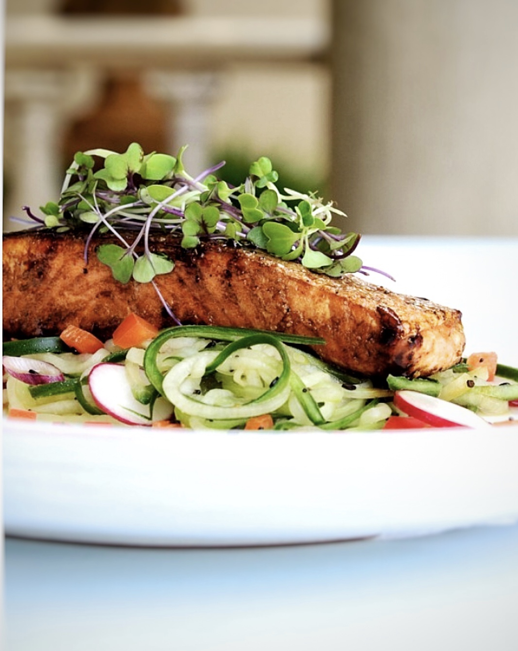 Salmon with honey and soy