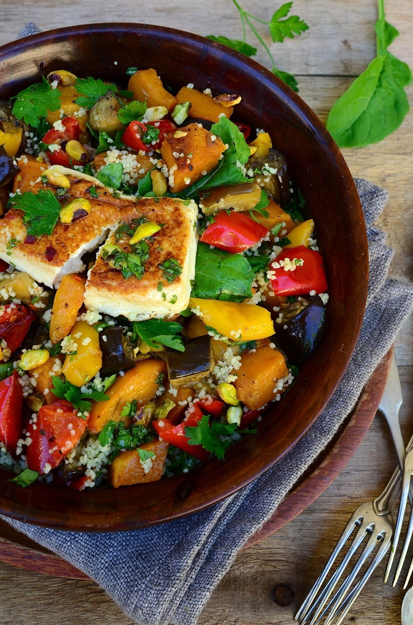 Roast vegetable salad with grilled feta