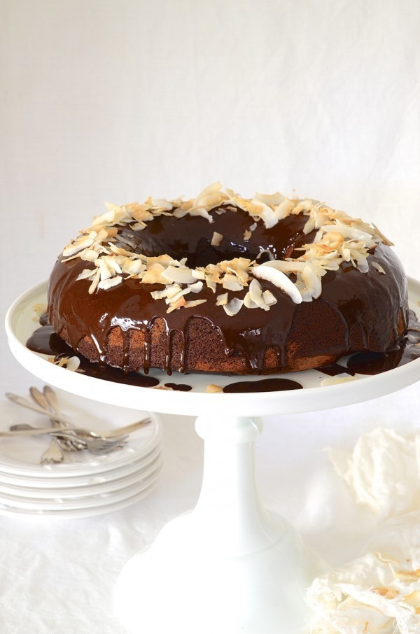 Chocolate banana bread Bundt cake with coconut ganache