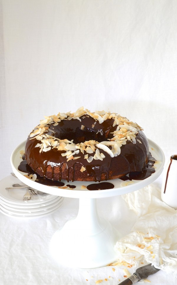 Chocolate banana bread Bundt cake with coconut ganache
