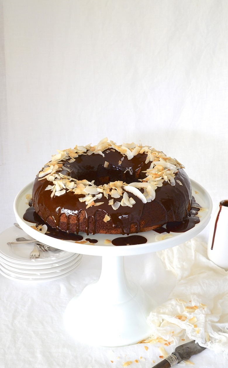 Ireland + Marbled chocolate banana bread Bundt cake with coconut cream chocolate ganache and toasted coconut shavings | Dianne Bibby is a Johannesburg food stylist, recipe developer, and food blogger. | Banana
