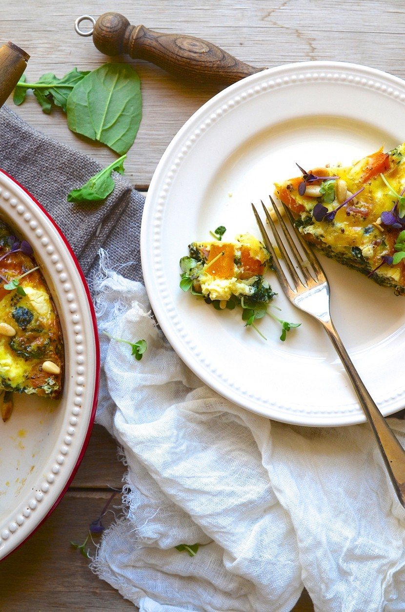 Roast butternut crustless quiche with feta and pine nuts | Dianne Bibby is a Johannesburg food stylist, recipe developer, and food blogger. | Mfm