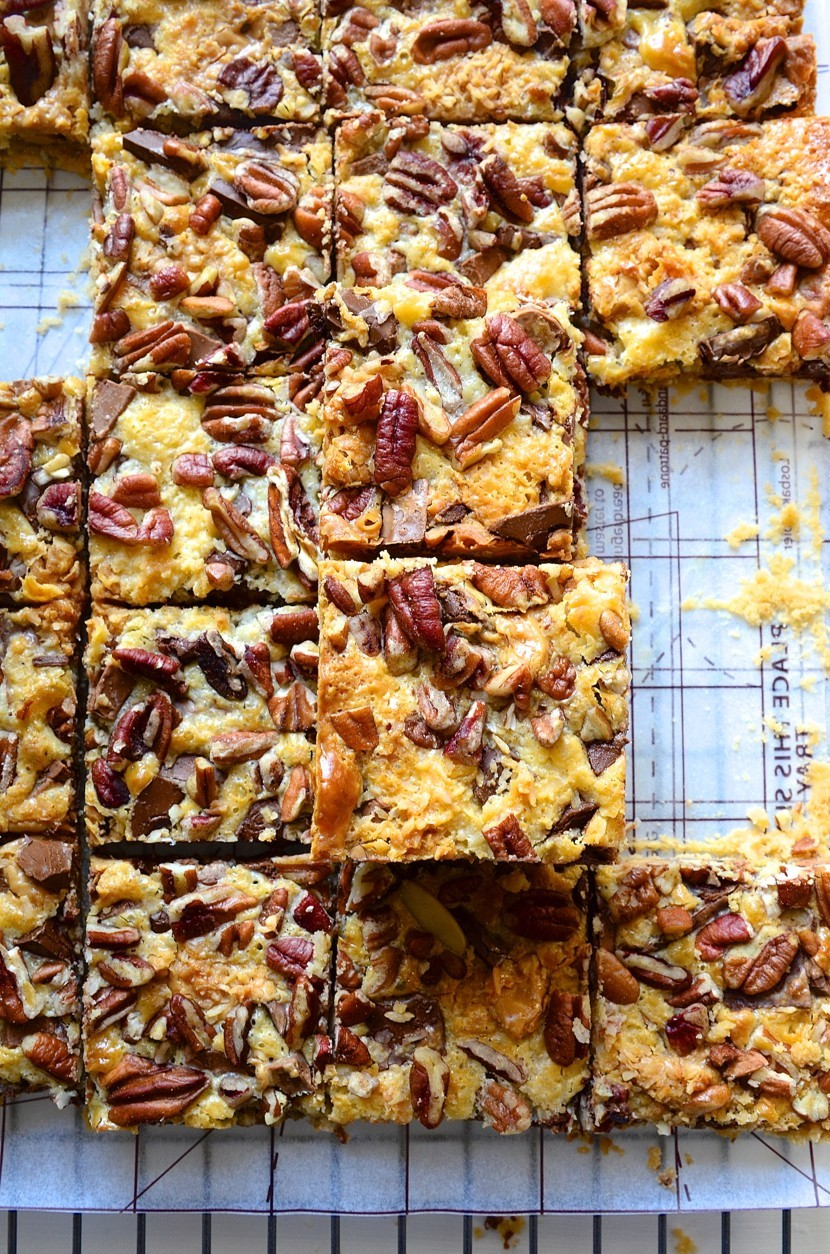 Peanut butter and caramel-toffee chocolate bars baking recipes