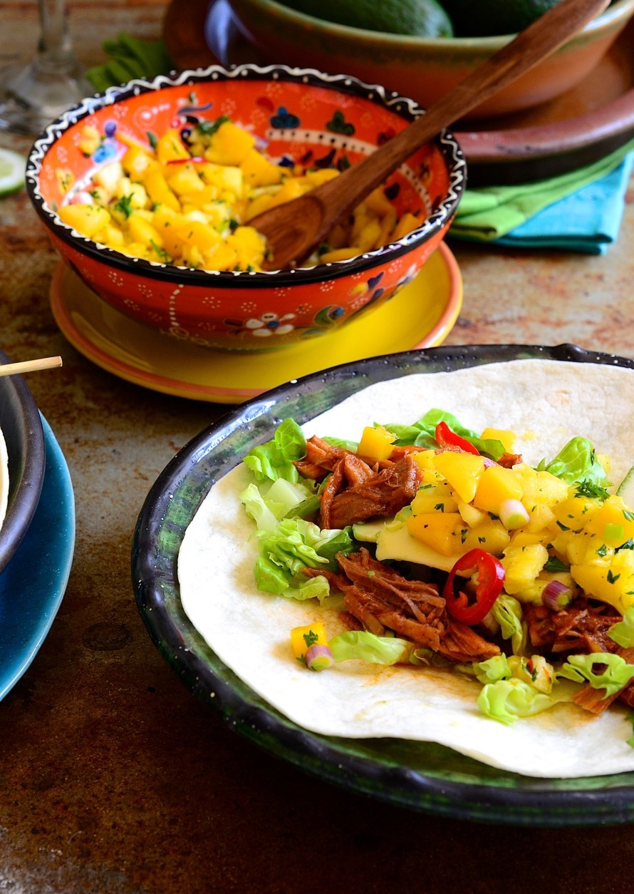 Cajun pulled pork tacos with mango and pineapple salsa