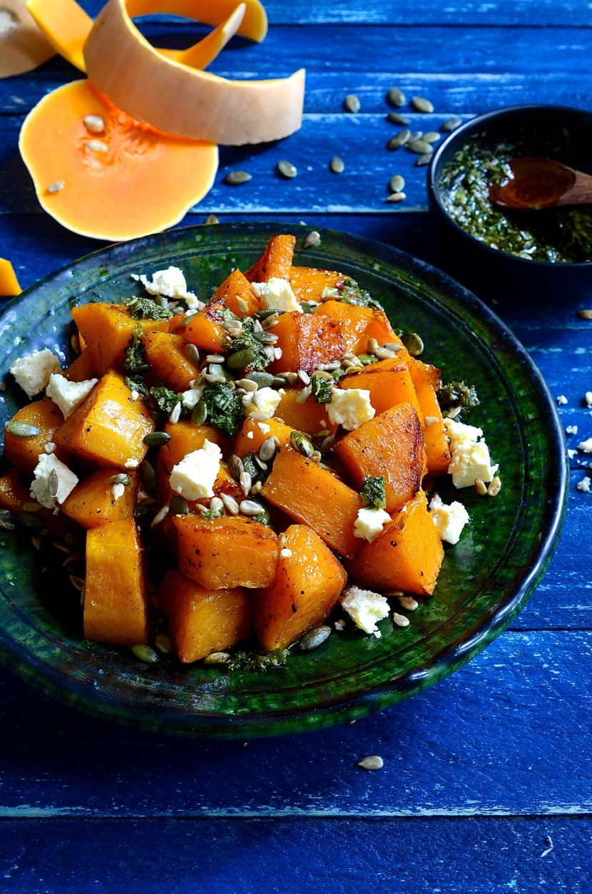 Roast butternut with feta and chimichurri dressing | Healthy salads