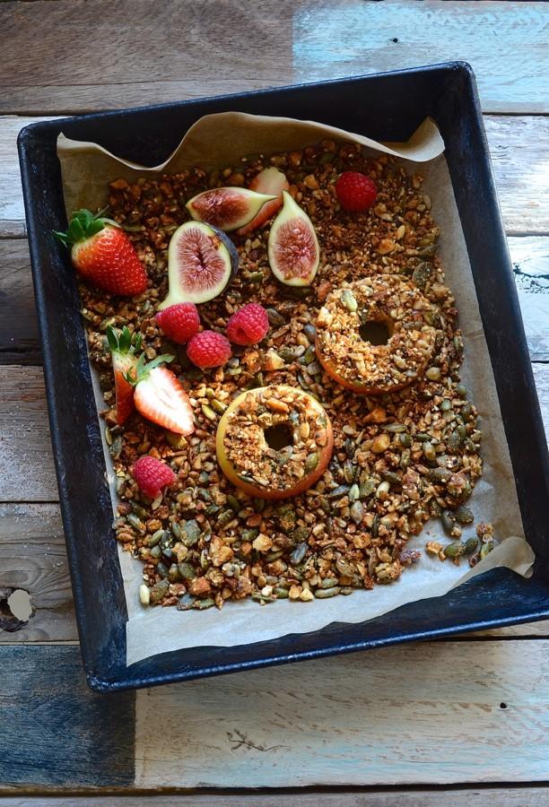 Fresh apple doughnuts with tahini roasted nut crumble | Bibby's Kitchen