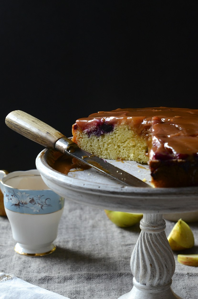 Apple and blueberry cake with burnt butterscotch sauce