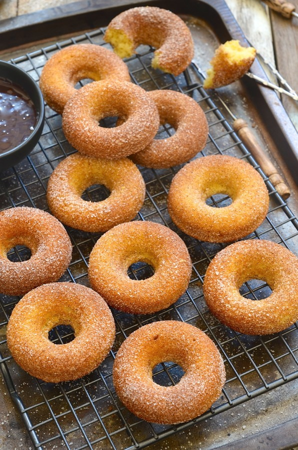 Baked donuts with cinnamon-chocolate ganache