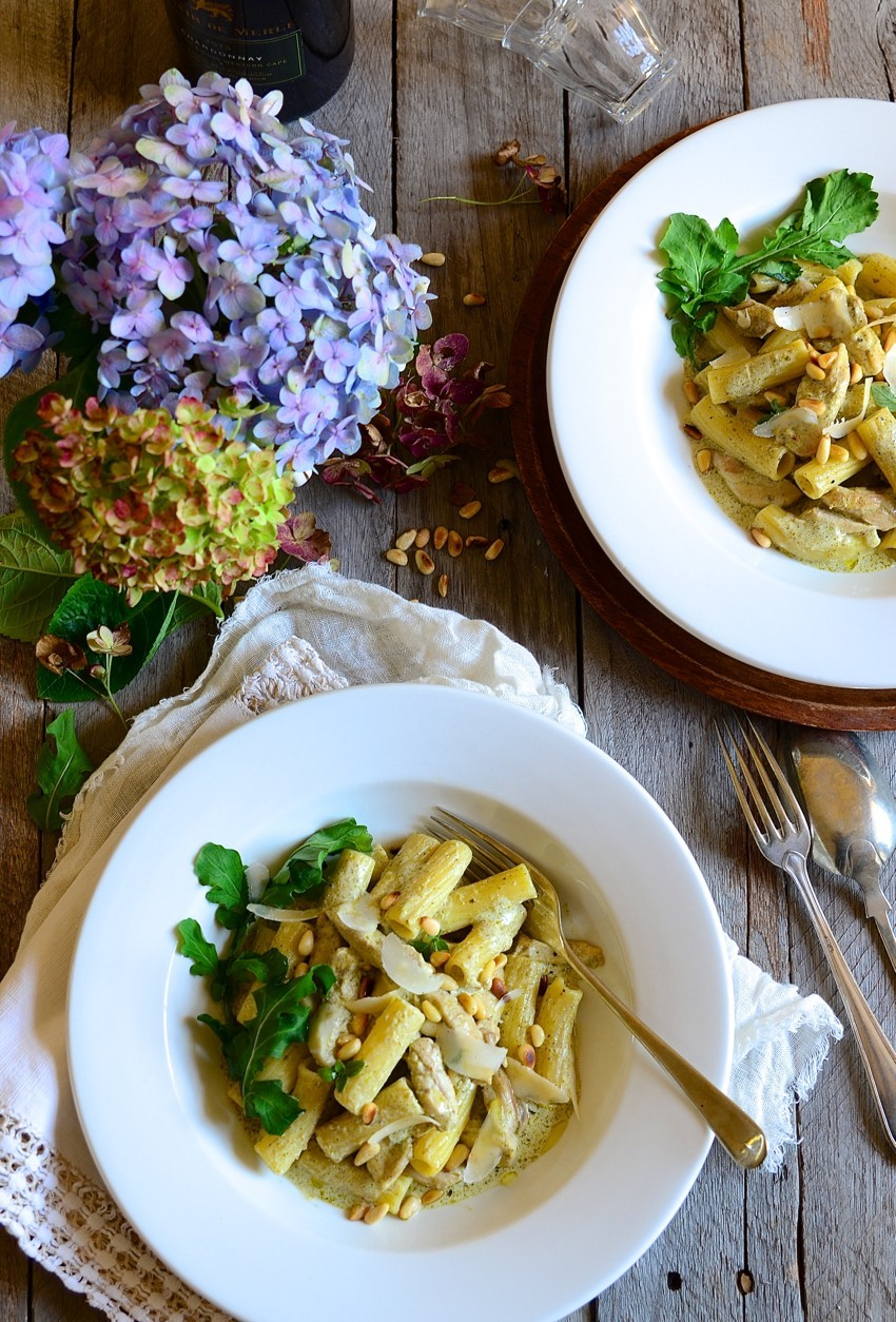 Chicken pesto pasta with parmesan and pine nuts | Dianne Bibby is a Johannesburg food stylist, recipe developer, and food blogger. | Pesto pasta