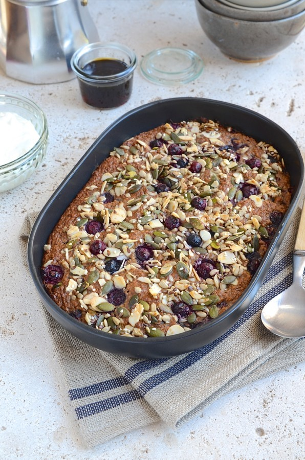 Baked blueberry oatmeal with seeded crumble | Bibby's Kitchen