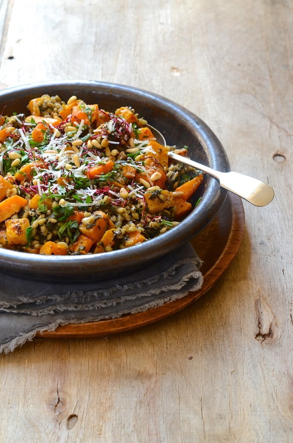 Roast butternut barely risotto