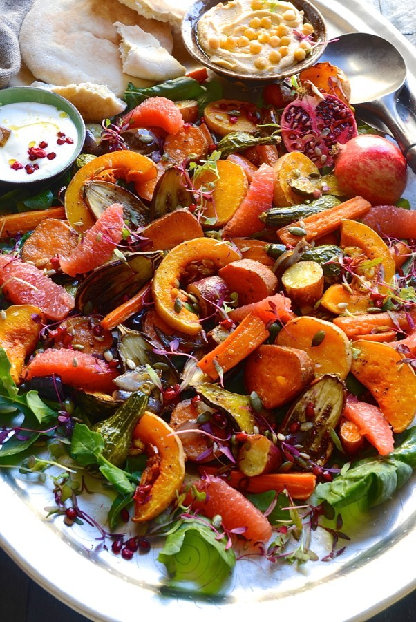 Roast vegetables with Tahini yoghurt drizzle