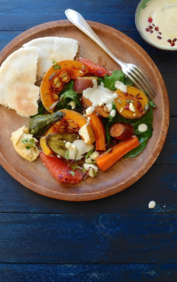 Roast vegetables with Tahini yoghurt drizzle