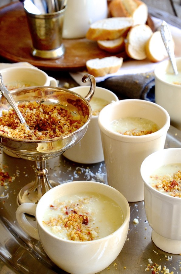 Vichyssoise soup sip-cups with parmesan crumbs