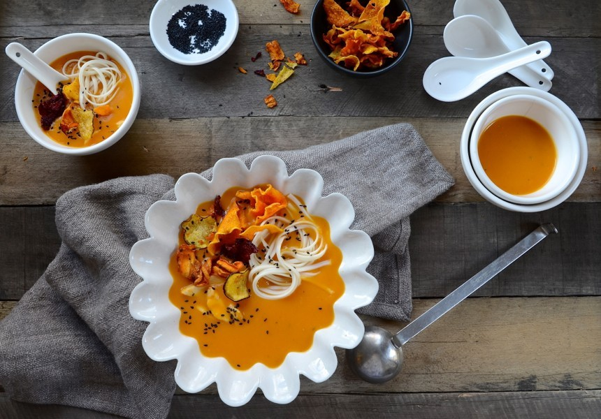 Red Thai Butternut Soup|Poached Chicken and Noodles