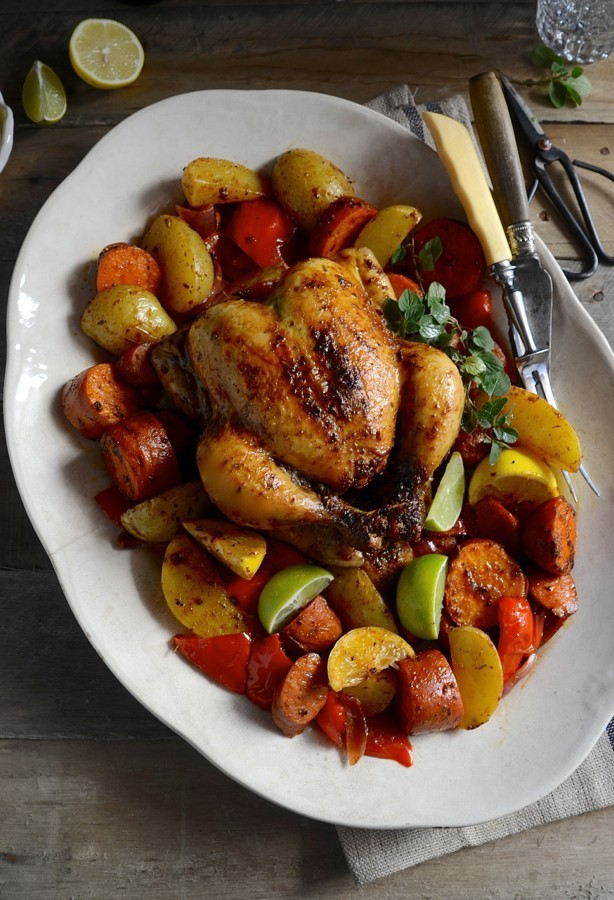 Spanish Roast Chicken and Vegetable Tray Bake|Roast dinners