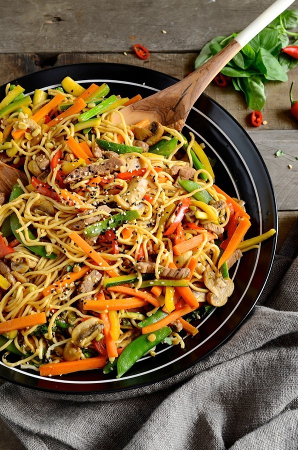 Korean beef stir-fry with egg noodles