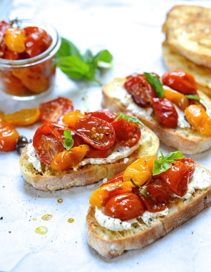 Candied tomato bruschetta|ricotta and goat's cheese