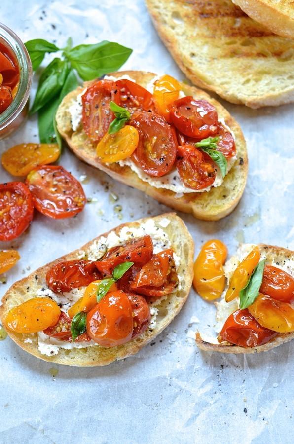 Candied Tomato Bruschetta, Ricotta & Goat's Cheese | Bibbyskitchen recipes