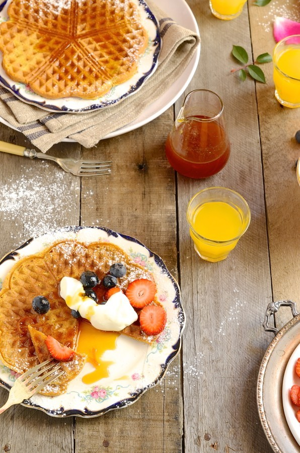 Pumpkin pie waffles with orange and brandy syrup