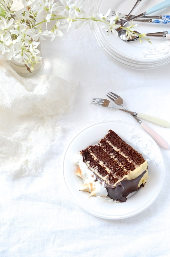 S'mores chocolate cake|mascarpone caramel frosting