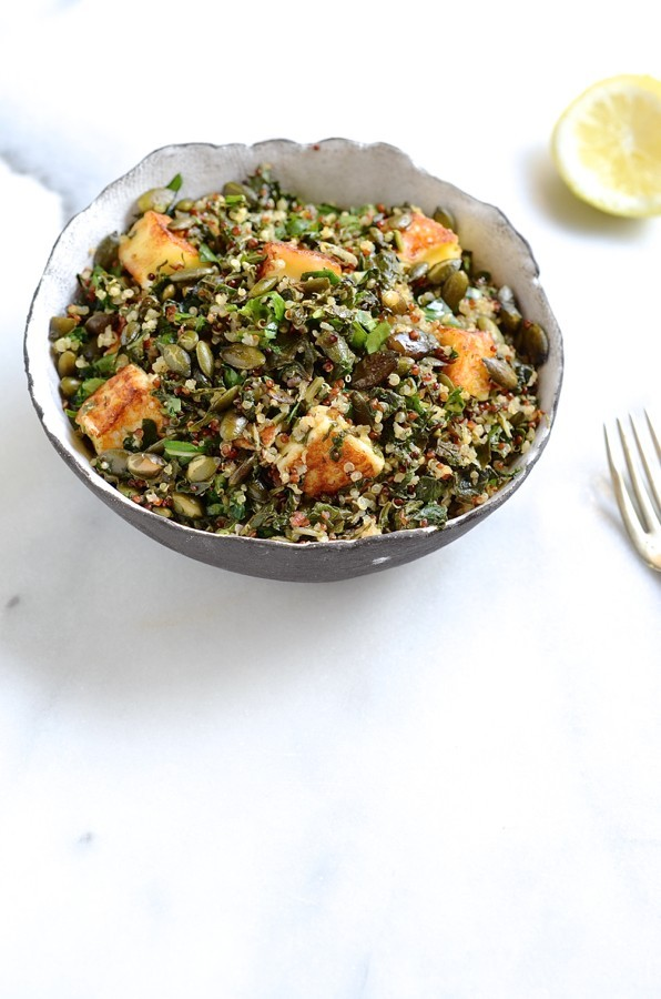 Quinoa, chard and halloumi salad |healthy salad recipes