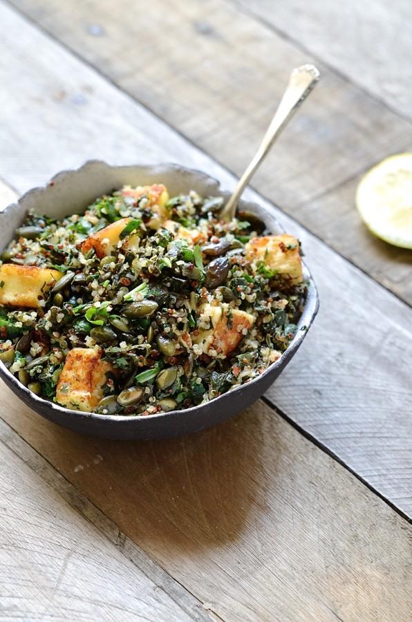 Quinoa, chard and halloumi salad  healthy salad recipes