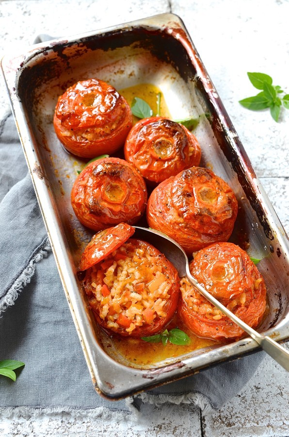 Saffron risotto stuffed tomatoes | Dianne Bibby is a Johannesburg food stylist, recipe developer, and food blogger. | Saffron risotto stuffed tomatoes